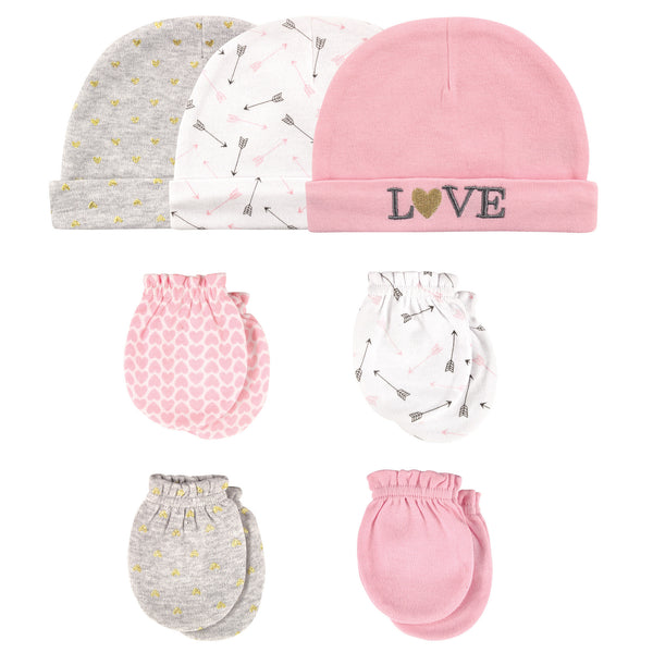 Hudson Baby Cotton Cap and Scratch Mitten Set, Love