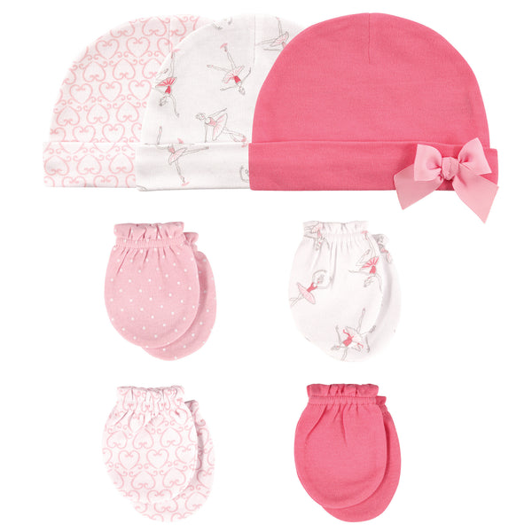 Hudson Baby Cotton Cap and Scratch Mitten Set, Ballerina