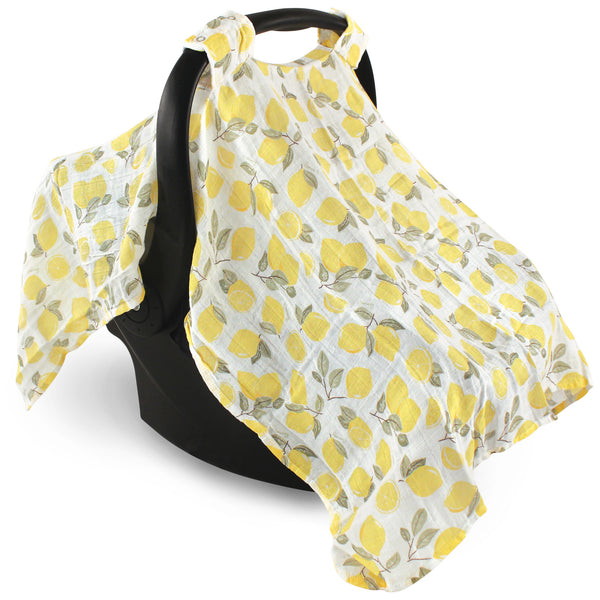 Hudson Baby Muslin Cotton Car Seat and Stroller Canopy, Lemons