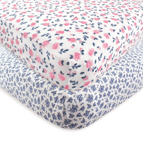 Hudson Baby Cotton Fitted Crib Sheet, Classic Floral