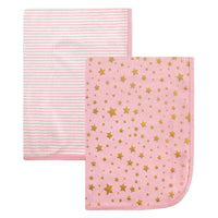 Hudson Baby Cotton Swaddle Blankets, Gold Star