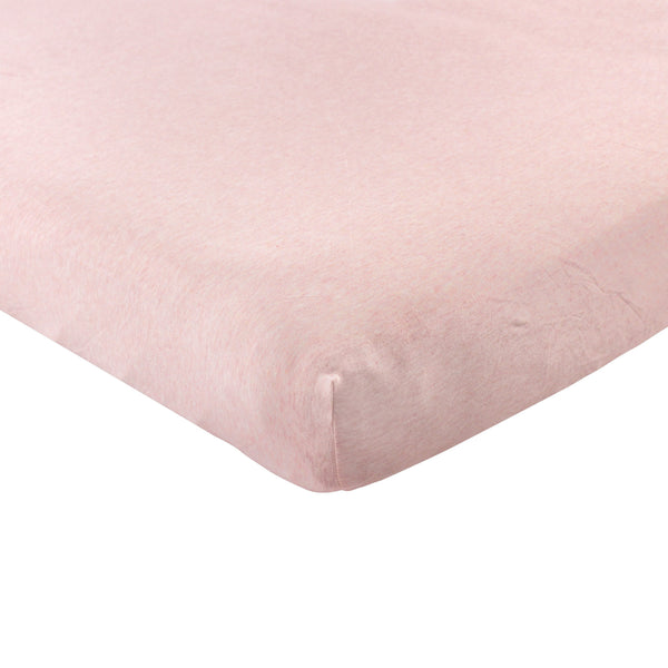 Hudson Baby Cotton Fitted Crib Sheet, Heather Pink