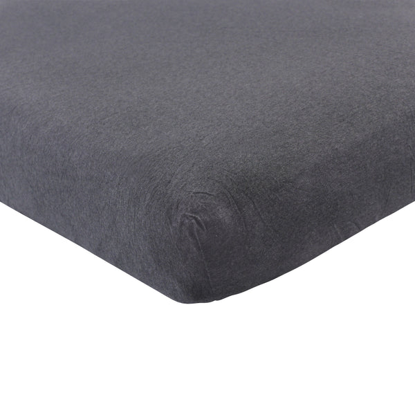 Hudson Baby Cotton Fitted Crib Sheet, Heather Charcoal