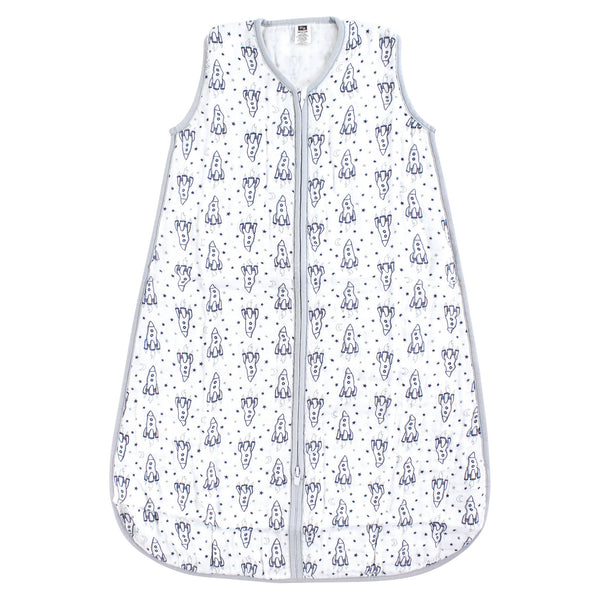 Hudson Baby Muslin Cotton Sleeveless Wearable Sleeping Bag, Sack, Blanket, Rocket Ship