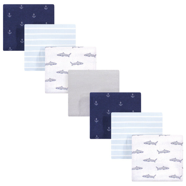 Hudson Baby Cotton Flannel Receiving Blankets Bundle, Shark