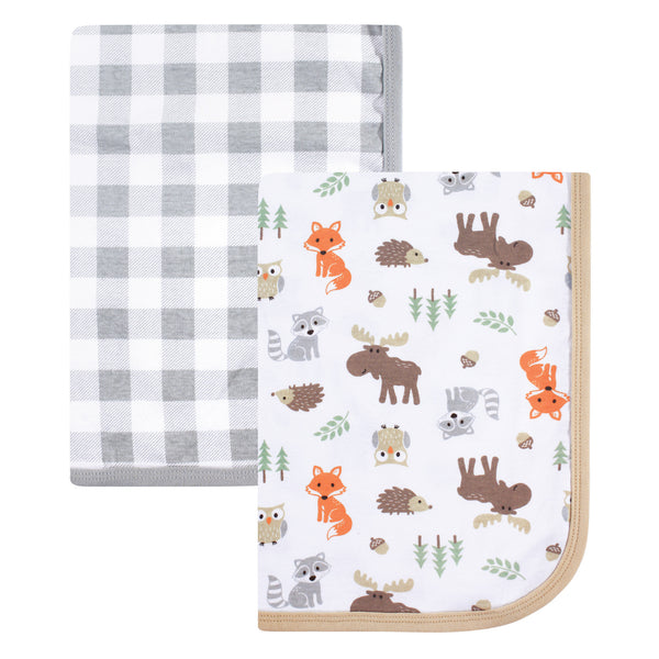 Hudson Baby Cotton Swaddle Blankets, Woodland