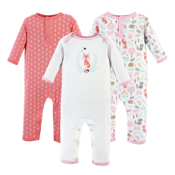 Hudson Baby Cotton Coveralls, Woodland Fox