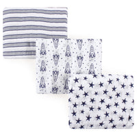 Hudson Baby Cotton Muslin Swaddle Blankets, Rocket Ship