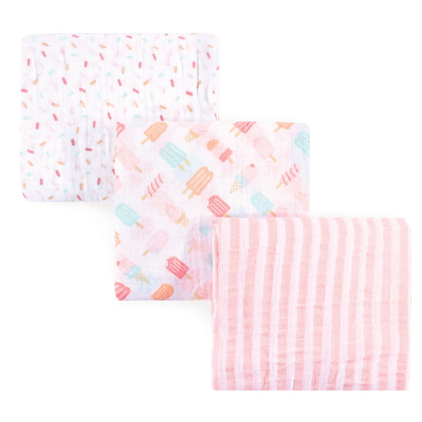 Hudson Baby Cotton Muslin Swaddle Blankets, Ice Cream