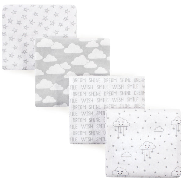 Hudson Baby Cotton Flannel Receiving Blankets, Gray Clouds