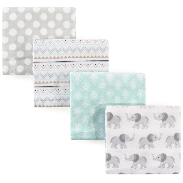 Hudson Baby Cotton Flannel Receiving Blankets, Gray Elephant