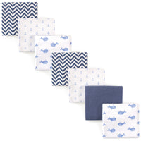 Hudson Baby Cotton Flannel Receiving Blankets Bundle, Blue Whale
