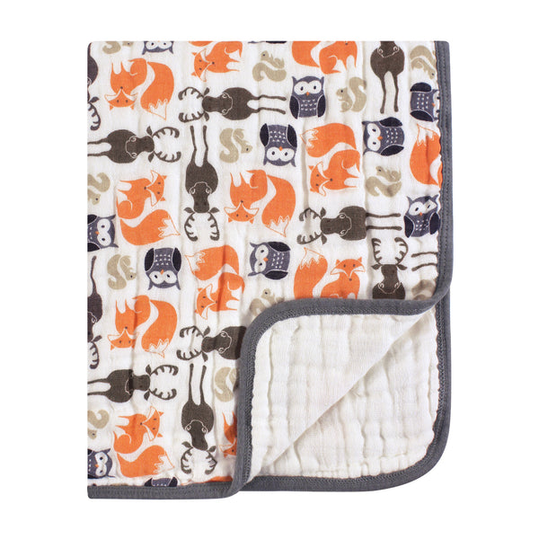 Hudson Baby Muslin Tranquility Quilt Blanket, Forest