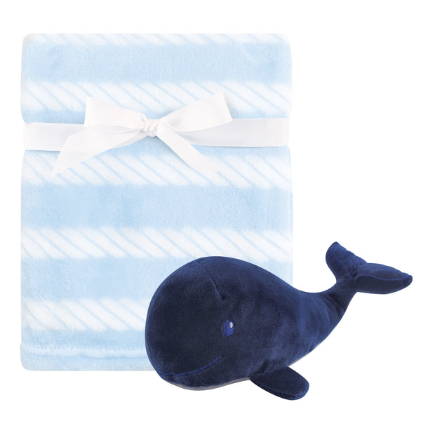 Hudson Baby Plush Blanket with Toy, Blue Whale