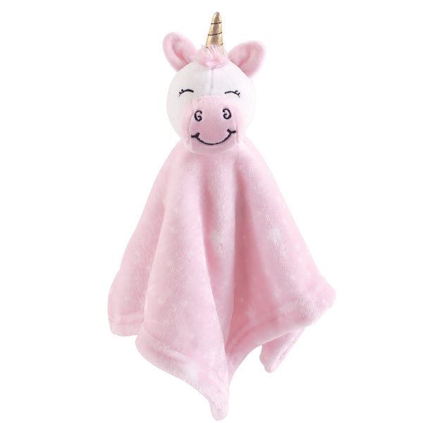 Hudson Baby Animal Face Security Blanket, Pink Unicorn