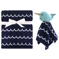 Hudson Baby Plush Blanket with Security Blanket, Boy Narwhal