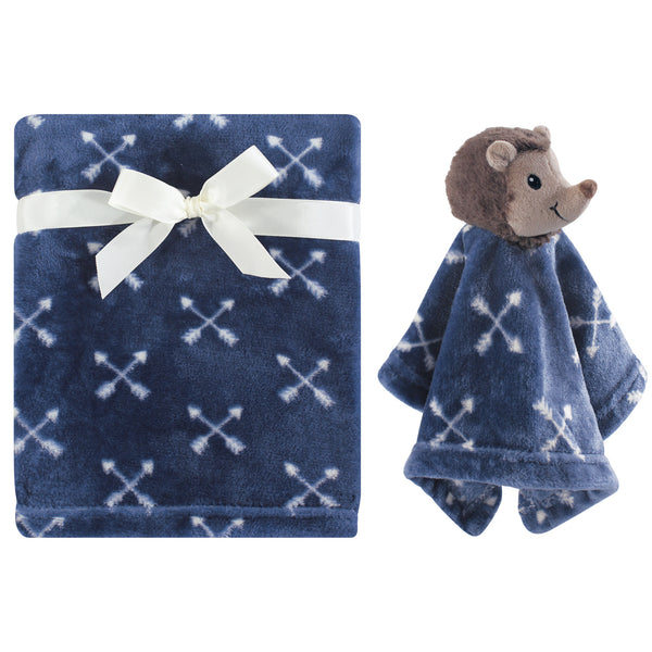 Hudson Baby Plush Blanket with Security Blanket, Hedgehog