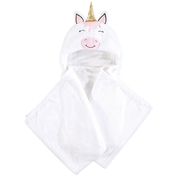 Hudson Baby Hooded Animal Face Plush Blanket, Modern Unicorn