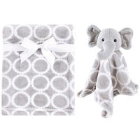 Hudson Baby Plush Blanket with Security Blanket, Neutral Elephant