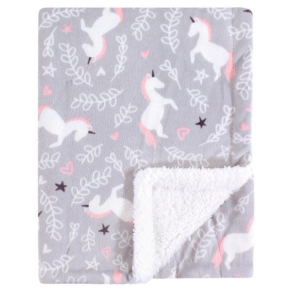 Hudson Baby Plush Blanket with Sherpa Back, Whimsical Unicorn