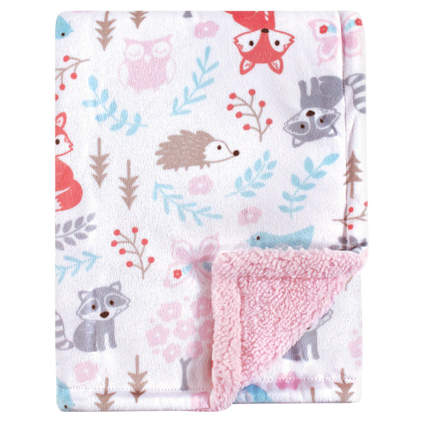 Hudson Baby Plush Blanket with Sherpa Back, Girl Woodland
