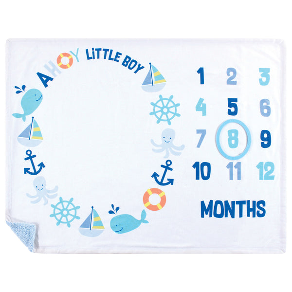 Hudson Baby Plush Holiday and Milestone Blanket, Ahoy Nautical