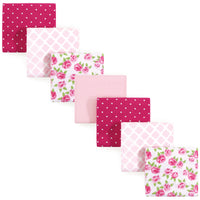 Hudson Baby Cotton Flannel Receiving Blankets Bundle, Rose