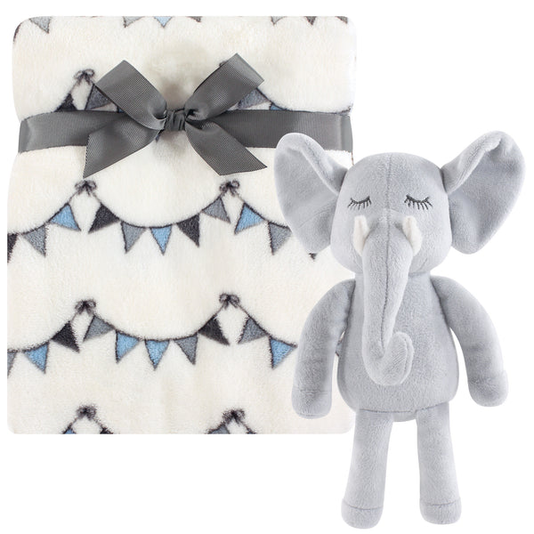 Hudson Baby Plush Blanket with Toy, Modern Elephant