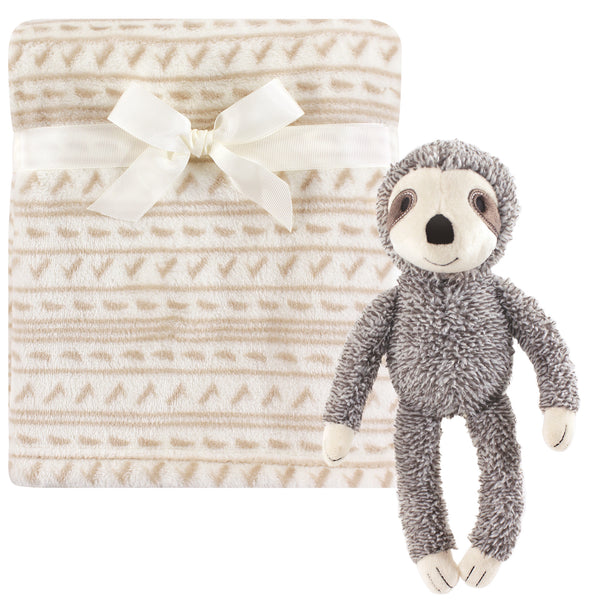 Hudson Baby Plush Blanket with Toy, Sloth