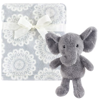 Hudson Baby Plush Blanket with Toy, Snuggly Elephant