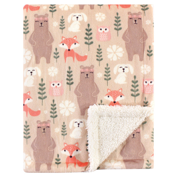Hudson Baby Plush Blanket with Sherpa Back, Girl Forest