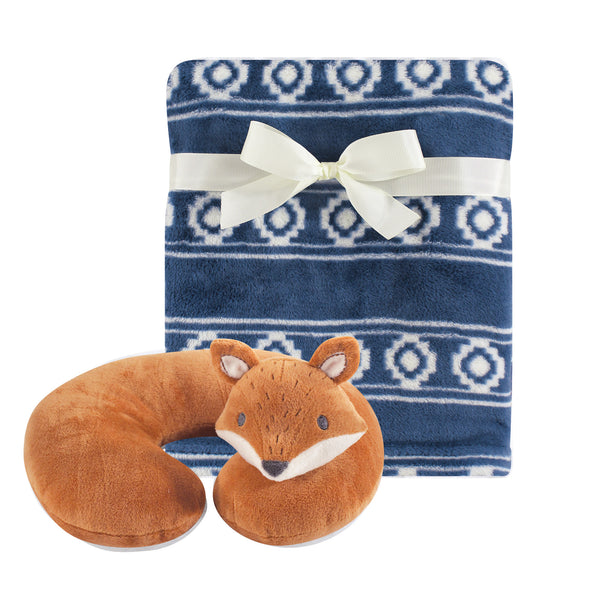Hudson Baby Neck Pillow and Plush Blanket Set, Modern Fox