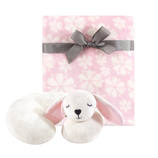 Hudson Baby Neck Pillow and Plush Blanket Set, Modern Bunny