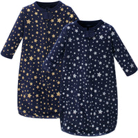 Hudson Baby Cotton Long-Sleeve Wearable Sleeping Bag, Sack, Blanket, Metallic Stars