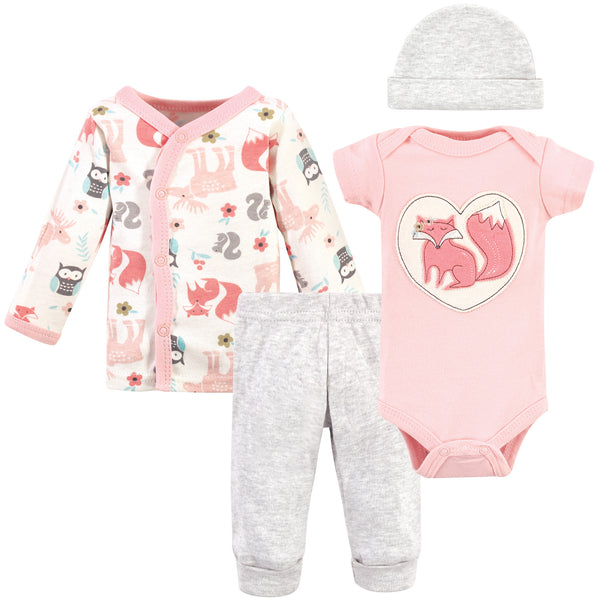Hudson Baby Preemie Layette Set 4-Piece, Pink Fox