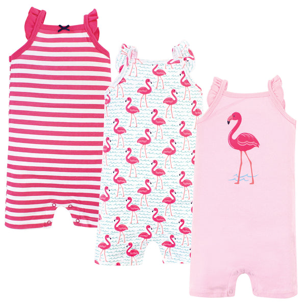 Hudson Baby Cotton Rompers, Bright Flamingo