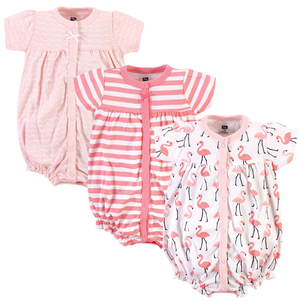 Hudson Baby Cotton Rompers, Coral Flamingo