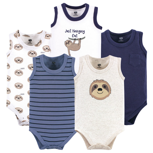 Hudson Baby Cotton Sleeveless Bodysuits, Sloth