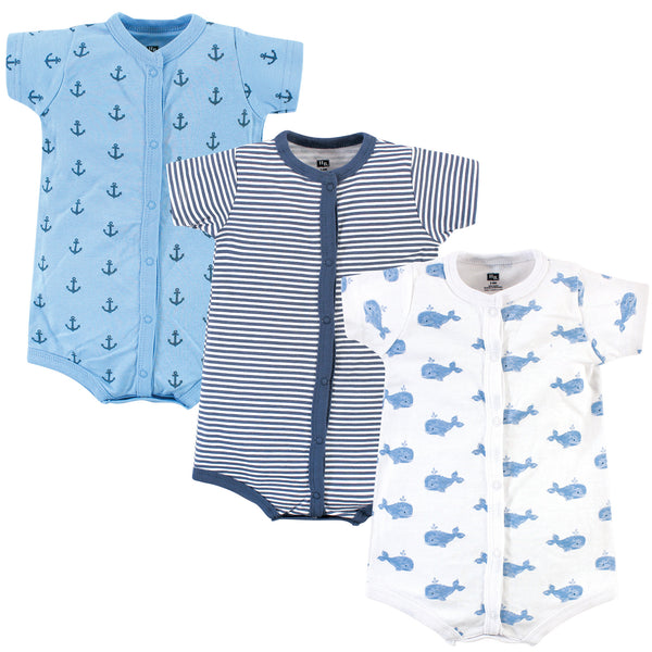 Hudson Baby Cotton Rompers, Blue Whale