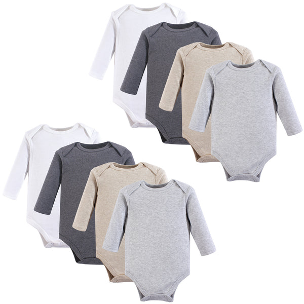 Hudson Baby Cotton Long-Sleeve Bodysuits, Heather Gray