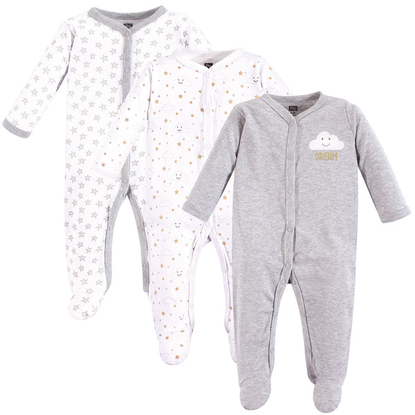 Hudson Baby Cotton Sleep and Play, Gray Clouds