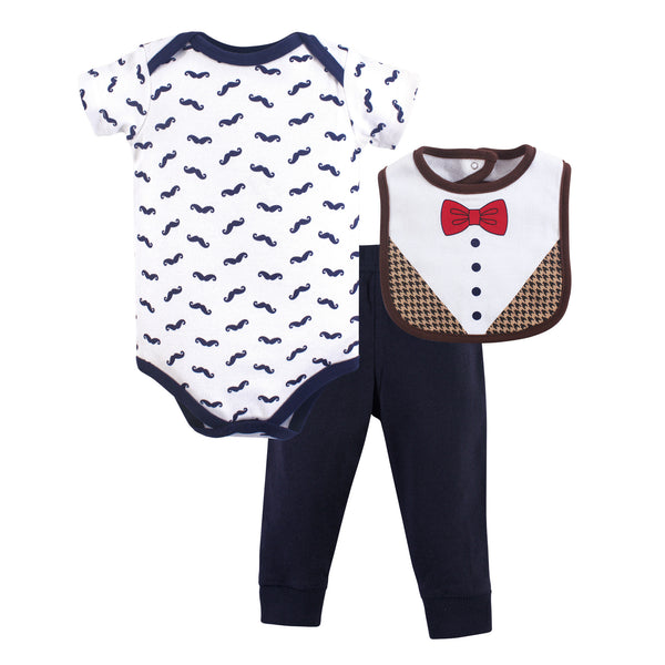 Hudson Baby Cotton Bodysuit, Pant and Bib Set, Bow Tie