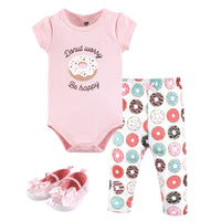 Hudson Baby Cotton Bodysuit, Pant and Shoe Set, Donut Worry