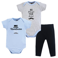 Hudson Baby Cotton Bodysuit and Pant Set, Handsome Fella