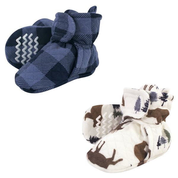 Hudson Baby Quilted Booties 2pk, Moose Bear