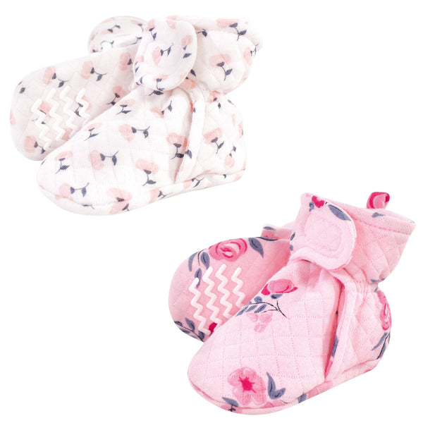 Hudson Baby Quilted Booties 2pk, Pink Navy Floral