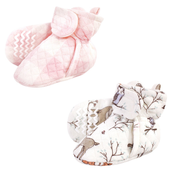 Hudson Baby Quilted Booties 2pk, Enchanted Forest