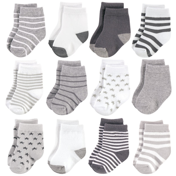 Hudson Baby Cotton Rich Newborn and Terry Socks, Gray White Star