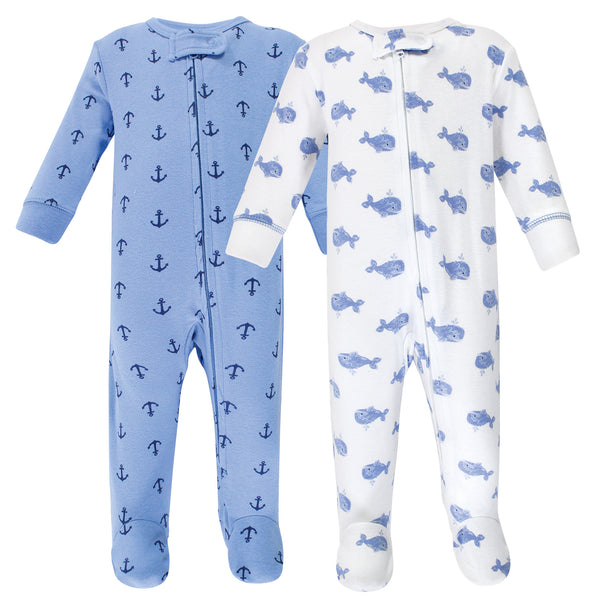 Hudson Baby Cotton Sleep and Play, Blue Whales