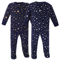 Hudson Baby Cotton Sleep and Play, Metallic Stars